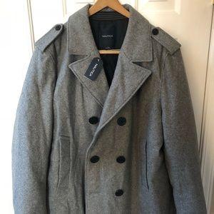 Men Nautica wool jacket pea coat grey